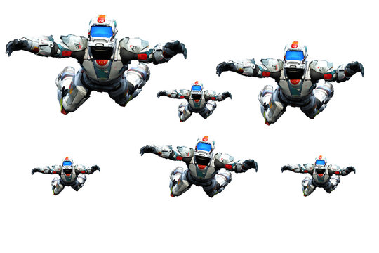 astronaut hero skydiver gang white background