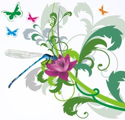 vector blue dragonfly with floral background