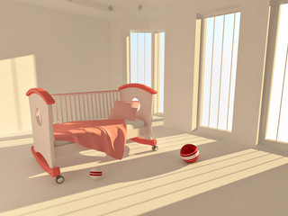 Children's bed in an empty room, lit by sunlight
