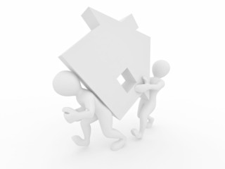 Men with home on white isolated background