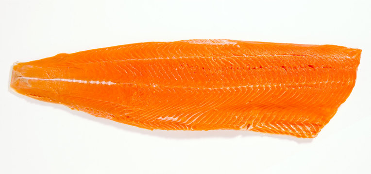 Wild Sockeye Salmon Fillet, Isolated on White Background.