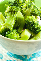 Fried broccoli in the green bowl.