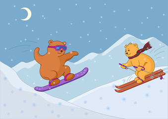 Poster Ours Teddy bears ski in mountains, night