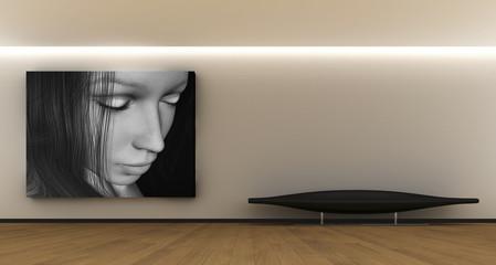 Stanza con quadro e divano