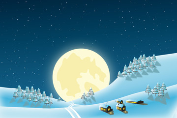 christmas landscape with  stars