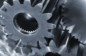 gears and cogs in blue toning