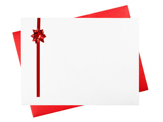 Greeting card envelopes with red bow and room for text