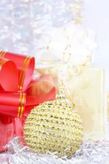 Christmas gifts and Christmas-tree decorations.