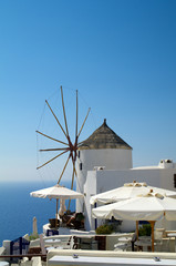 Traditional windmill in the Santorini