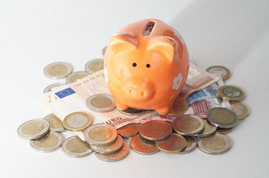 Sparschwein sitzt auf Geld