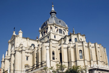 Eclectic cathedral of Almudena in Madrid