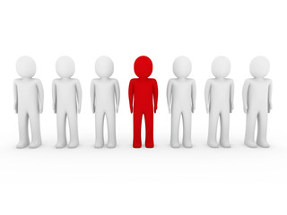 3d human stand crowd red