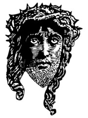 Engraving style portrait of Jesus vector