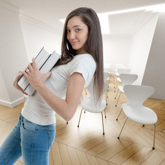 Young woman with books in conference room