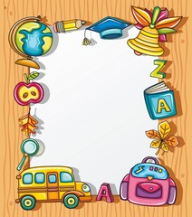 Frame with colorful school icons,  wooden background