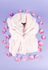 Pink Bathrobe Surrounded with Pink Rose Pedals