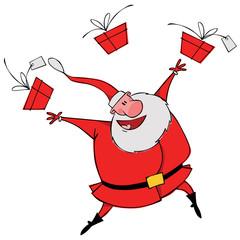 Dancing Santa with gifts