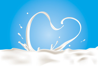 A splash of milk in shape of heart