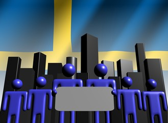 Swedish business team with abstract skyline illustration