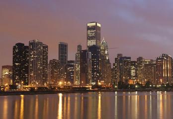 Wall Murals Shanghai Chicago skyline and Michigan Lake at night