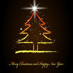 Hand draw christmas tree.Vector illustration.