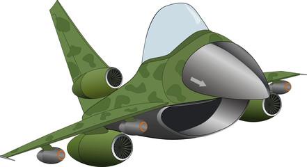 Fotorolgordijn Militair The modern military jet airplane cartoon