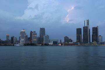 Detroit skyline at dusk, USA