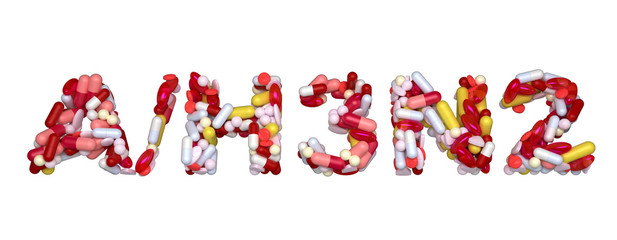 Swine Flu H3N2 virus - word assemled with pills