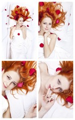 Collage photos of beautiful girl in bed with rose petal.