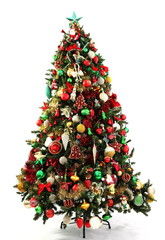 Christmas Tree Green, Red, Gold Decorations
