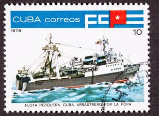 Canceled Cuba Postage Stamp Tuna Boat Stern View Trawler