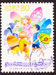 """Japanese Postage Stamp Fairy Children Singing """"Song of Seasons"""""""