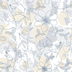 Seamless soft floral background; vector illustration