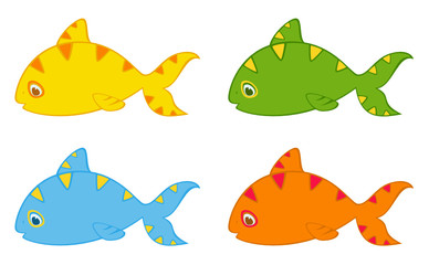 Set of little colorful tropical fish
