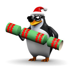 3d Penguin pulls a cracker