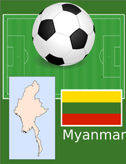 Myanmar soccer football world flag map