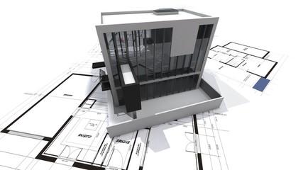 Modern loft on blueprints