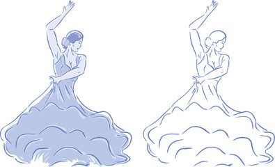 Two versions of a stylized Flamenco dancer