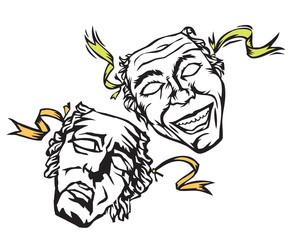 theater masks of comedy and tragedy