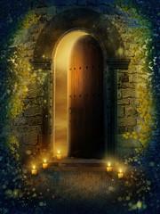 Fototapeta Drzwi fantasy ze świecami i bluszczem obraz