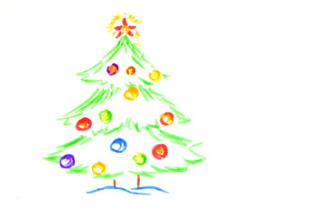 christmas tree, drawing by  child