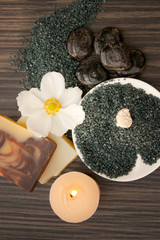 Spa setting with hot rocks