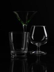 Glasses on a black background