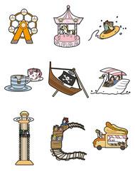 cartoon amusement park icon