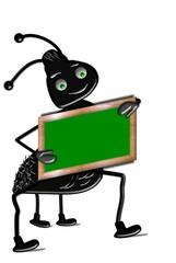 Ameise mit leerer Schultafel Freisteller