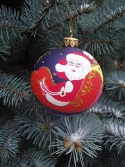 Decorative chrristmas ball on a fir