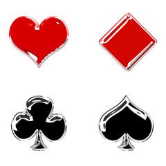 Glossy poker symbols