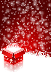 red christmas background with snowflakes and christmas gift