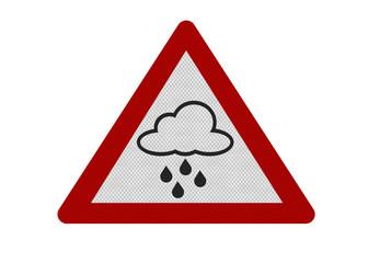 Photo realistic 'rain warning' sign, isolated on white