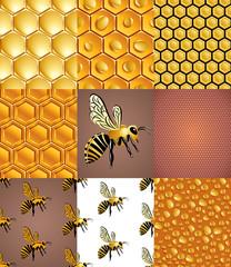 Пчелы, соты и капли меда, набор бесшовных узоров, вектор